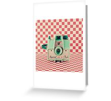 Mint Retro Camera on Red Chequered Background  Greeting Card