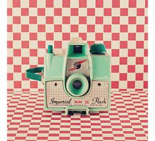Mint Retro Camera on Red Chequered Background  Photographic Print