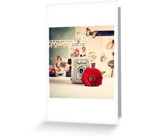 Retro - Vintage Pastel Camera and Red Flowe on a Kitsh Background  Greeting Card