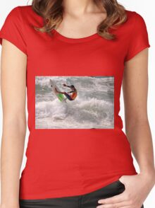 Surfer spins on the crest of a wave Women's Fitted Scoop T-Shirt