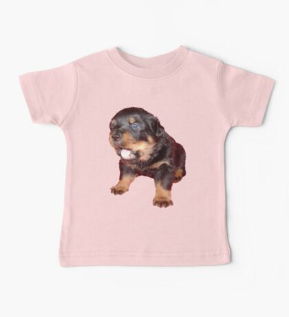 Rottweiler Puppy Isolated On Black Baby Tee