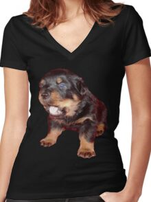 Rottweiler Puppy Isolated On Black Women's Fitted V-Neck T-Shirt
