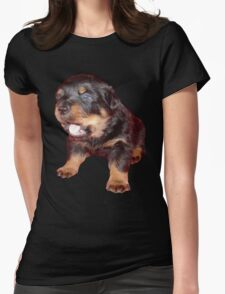 Rottweiler Puppy Isolated On Black T-Shirt