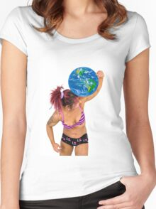Female Atlas holds the world on her shoulder  Women's Fitted Scoop T-Shirt