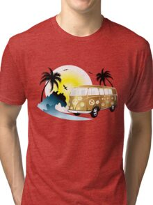 Cut-out of retro on the beach Tri-blend T-Shirt