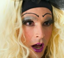 excited Drag Queen with blond wig Sticker