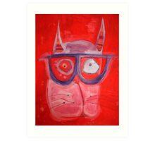 Floating Hipster Cat Head Art Print