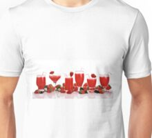 cool and refreshing red strawberry juice and strawberries Unisex T-Shirt