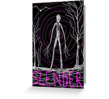 dark creepy slender man in forest on Halloween by Tia Knight Greeting Card