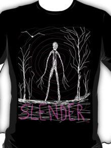 dark creepy slender man in forest on Halloween by Tia Knight T-Shirt