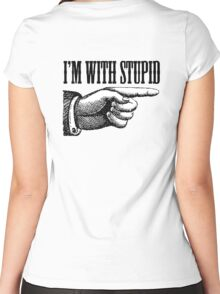 I'M WITH STUPID, Stupid, daft, Thick, dumb, Stupid, Laugh, Joke, Wind up Women's Fitted Scoop T-Shirt
