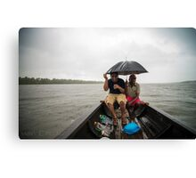rain , lake, boat, drinks Canvas Print
