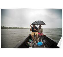 rain , lake, boat, drinks Poster