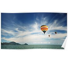 Colorful hot air balloon flying over the sea Poster