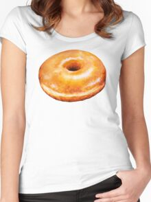 Glazed Donut Pattern Women's Fitted Scoop T-Shirt