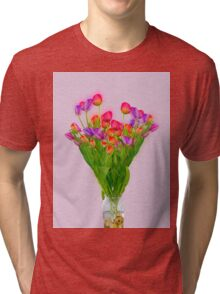 Tulips in a transparent glass vase Tri-blend T-Shirt