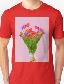 Tulips in a transparent glass vase Unisex T-Shirt