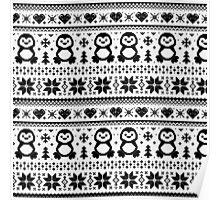 Penguin Pattern Black And White Poster