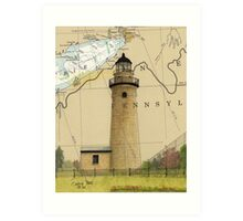 Erie Land Lighthouse PA Nautical Chart Cathy Peek Art Print
