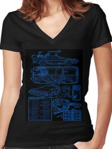 BTTF DELOREAN Women's Fitted V-Neck T-Shirt