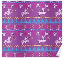 Purple reindeer christmas pattern Poster