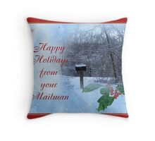 Happy Holidays From Mailman Throw Pillow