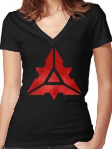 Cybran Large Logo Women's Fitted V-Neck T-Shirt