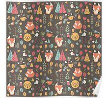 Baby fox pattern 04 Poster