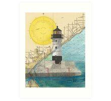 Duluth Hbr N Lighthouse MN Nautical Chart Cathy Peek Art Print