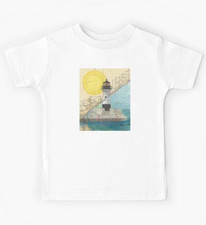Duluth Hbr N Lighthouse MN Nautical Chart Cathy Peek Kids Tee