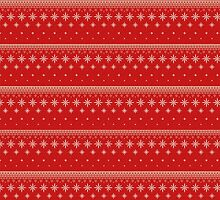 Red and white snowflakes christmas pattern by Winkham