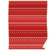 Red and white snowflakes christmas pattern Poster