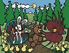 Teddy Bear And Bunny - The Venus Flytrap by Brett Gilbert