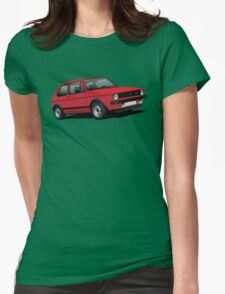 Volkswagen Golf GTI MK1 illustration red Womens Fitted T-Shirt
