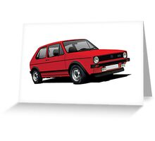 Volkswagen Golf GTI MK1 illustration red Greeting Card
