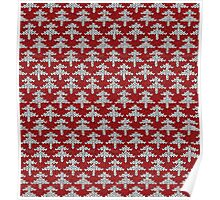 Red and white christmas tree pattern Poster