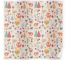Baby fox pattern 05 Poster