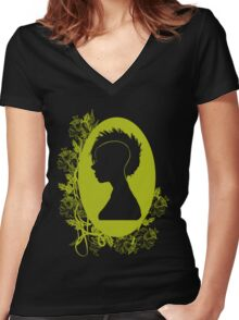 Vintage Punk Cameo Yellow Women's Fitted V-Neck T-Shirt