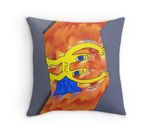 Euroman sent le resserrement en dessin animé Throw Pillow