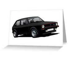 VW Golf GTI MK1 illustration black Greeting Card