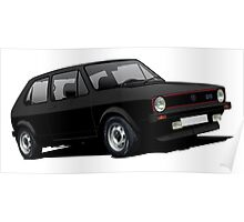 VW Golf GTI MK1 illustration black Poster