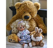 Big Ted  Welcomes Two New Friends With A Hug Photographic Print