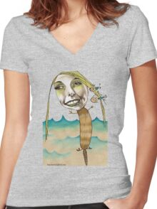 Platypus with People Hairclips Women's Fitted V-Neck T-Shirt