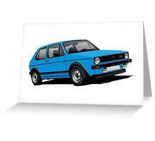 Volkswagen Golf GTI Mk1 illustration blue Greeting Card