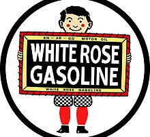 White Rose Gasoline. Boy with slate vintage sign. Clean version by htrdesigns
