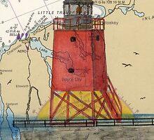 Charlevoix Pier Lighthouse MI Nautical Chart Cathy Peek by Cathy Peek