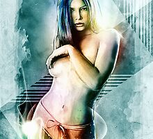 Jessica Biel Celebrity Tra Digital Painting  by barrettbiggers