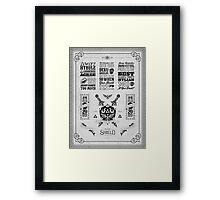 Legend of Zelda Hylian Shield Geek Line Artly Framed Print