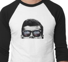 JFK Pop-Art t-shirt (black & White) Men's Baseball ¾ T-Shirt