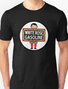 White Rose Gasoline. Boy with slate vintage sign. Clean version T-Shirt